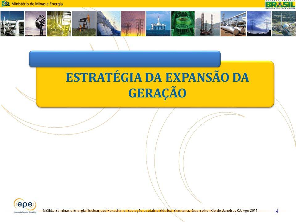 GESEL. Seminário Energia Nuclear pós-Fukushima. Evolução da Matriz Elétrica Brasileira. Guerreiro. Rio de Janeiro, RJ. Ago 2011 14 ESTRATÉGIA DA EXPAN