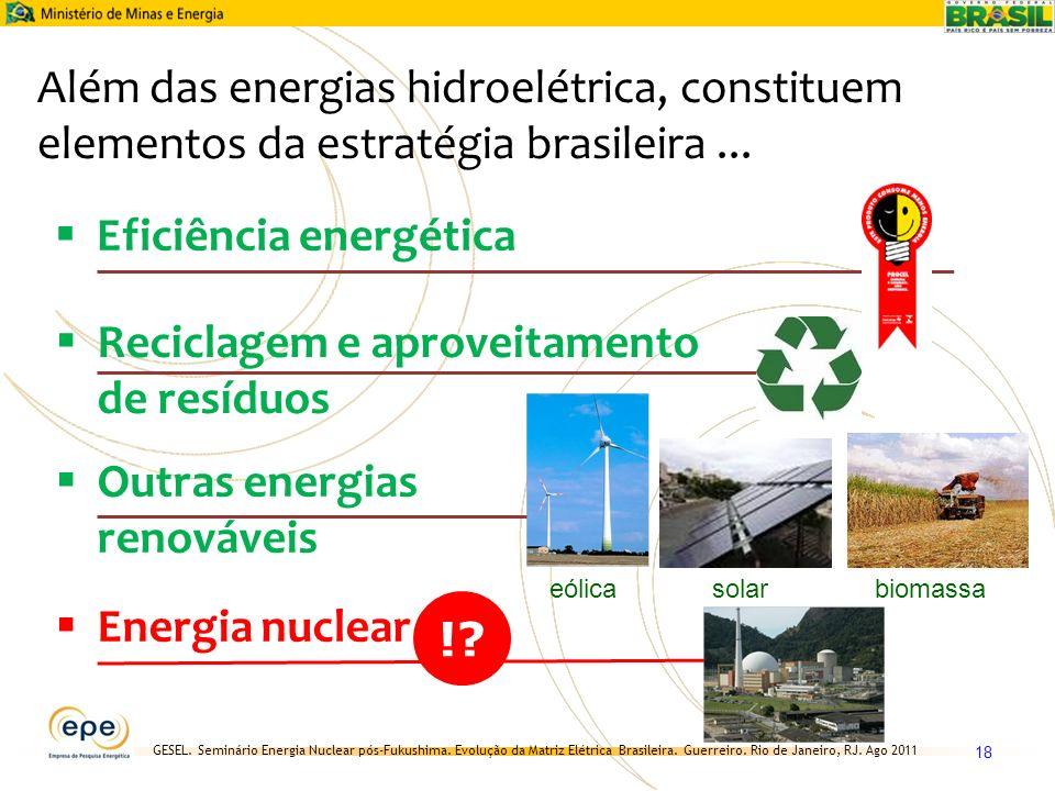 GESEL. Seminário Energia Nuclear pós-Fukushima. Evolução da Matriz Elétrica Brasileira. Guerreiro. Rio de Janeiro, RJ. Ago 2011 18 Além das energias h