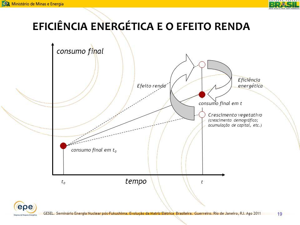 GESEL. Seminário Energia Nuclear pós-Fukushima. Evolução da Matriz Elétrica Brasileira. Guerreiro. Rio de Janeiro, RJ. Ago 2011 19 tempo consumo final