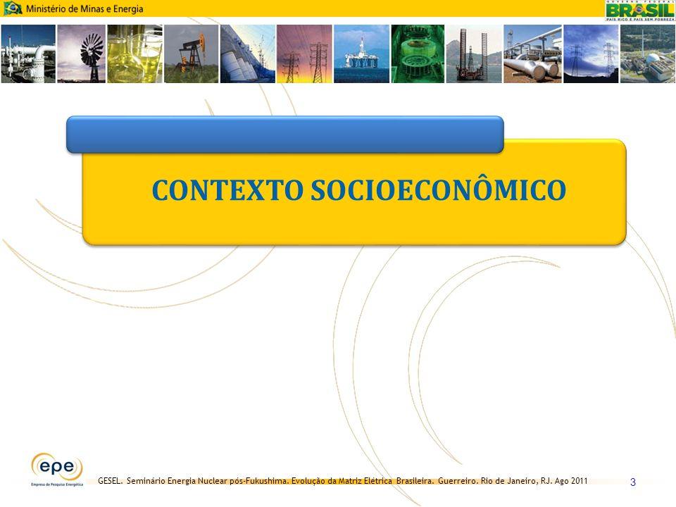 GESEL. Seminário Energia Nuclear pós-Fukushima. Evolução da Matriz Elétrica Brasileira. Guerreiro. Rio de Janeiro, RJ. Ago 2011 3 CONTEXTO SOCIOECONÔM