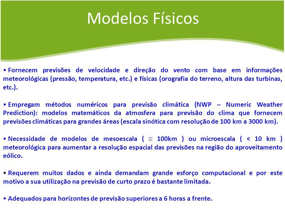 Modelos Físicos Fornecem previsões de velocidade e direção do vento com base em informações meteorológicas (pressão, temperatura, etc.) e físicas (oro