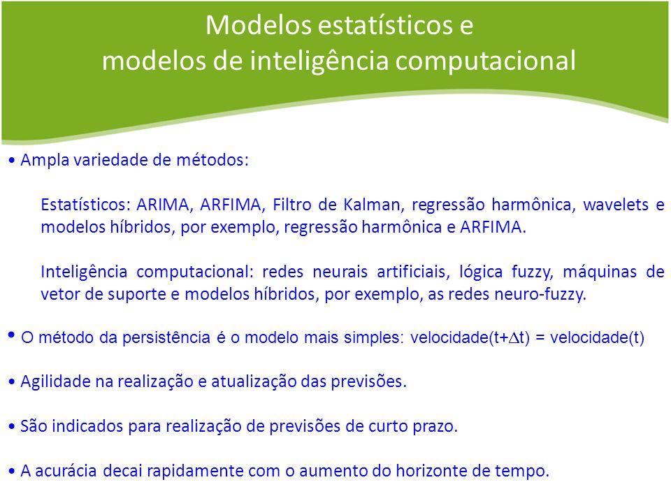 Modelos estatísticos e modelos de inteligência computacional Ampla variedade de métodos: Estatísticos: ARIMA, ARFIMA, Filtro de Kalman, regressão harm