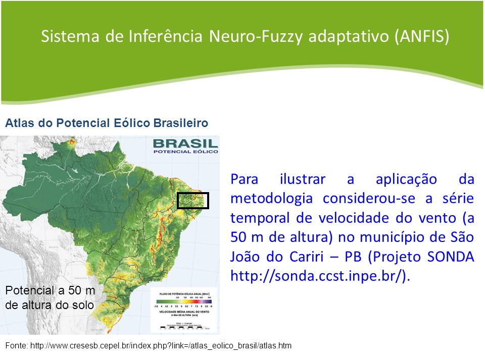 Sistema de Inferência Neuro-Fuzzy adaptativo (ANFIS) Fonte: http://www.cresesb.cepel.br/index.php?link=/atlas_eolico_brasil/atlas.htm Atlas do Potenci