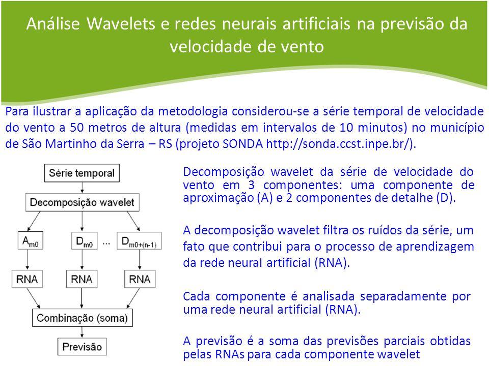Análise Wavelets e redes neurais artificiais na previsão da velocidade de vento Decomposição wavelet da série de velocidade do vento em 3 componentes: