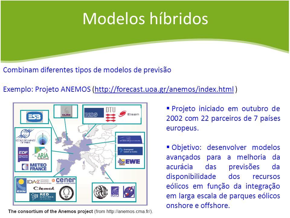 Modelos híbridos Combinam diferentes tipos de modelos de previsão Exemplo: Projeto ANEMOS (http://forecast.uoa.gr/anemos/index.html )http://forecast.u