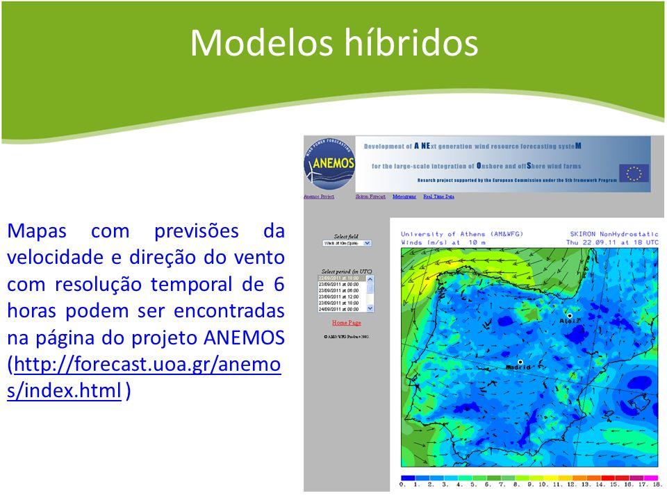 Mapas com previsões da velocidade e direção do vento com resolução temporal de 6 horas podem ser encontradas na página do projeto ANEMOS (http://forec