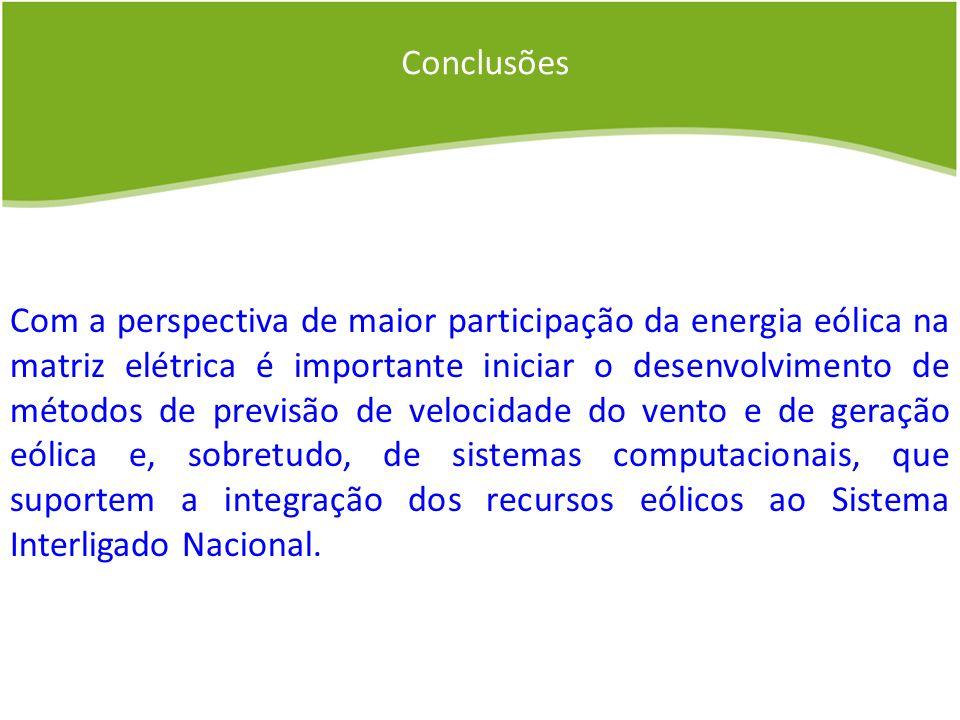 Conclusões Com a perspectiva de maior participação da energia eólica na matriz elétrica é importante iniciar o desenvolvimento de métodos de previsão