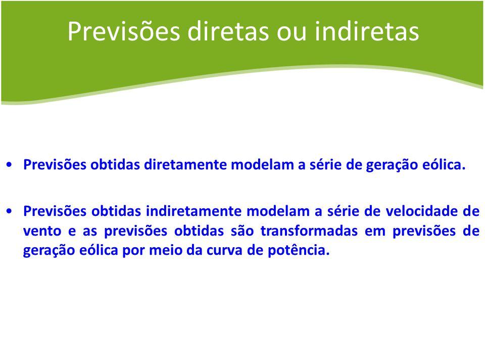 Previsões diretas ou indiretas Previsões obtidas diretamente modelam a série de geração eólica. Previsões obtidas indiretamente modelam a série de vel