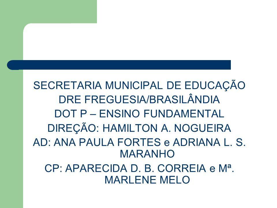 SECRETARIA MUNICIPAL DE EDUCAÇÃO DRE FREGUESIA/BRASILÂNDIA DOT P – ENSINO FUNDAMENTAL DIREÇÃO: HAMILTON A. NOGUEIRA AD: ANA PAULA FORTES e ADRIANA L.