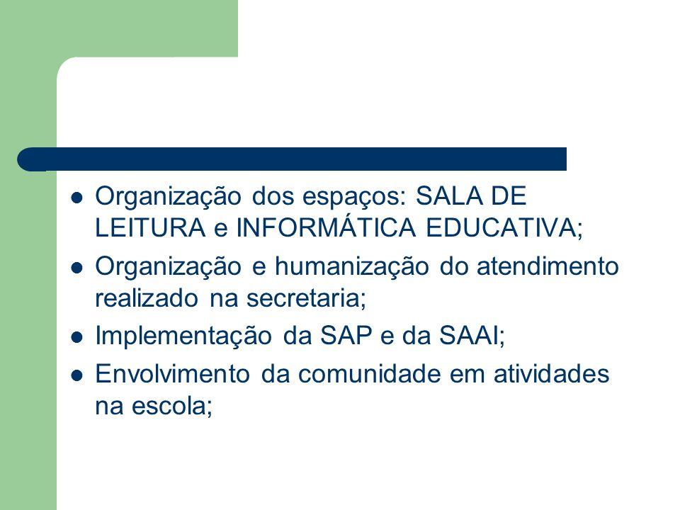 Organização dos espaços: SALA DE LEITURA e INFORMÁTICA EDUCATIVA; Organização e humanização do atendimento realizado na secretaria; Implementação da S