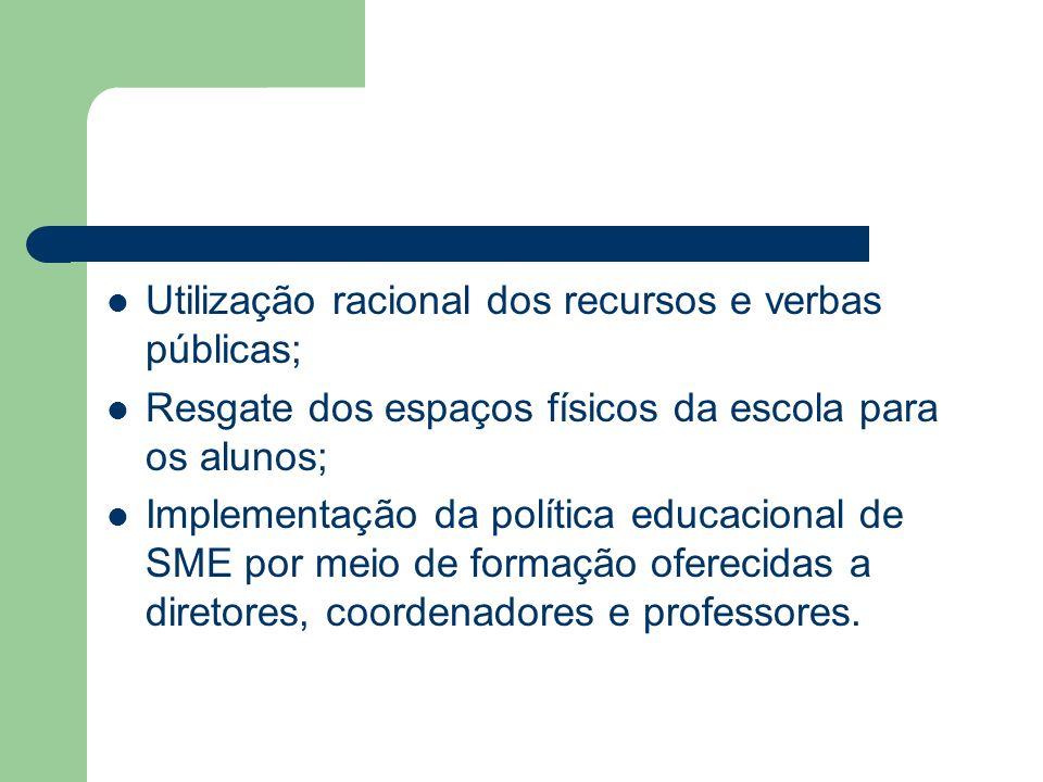 Utilização racional dos recursos e verbas públicas; Resgate dos espaços físicos da escola para os alunos; Implementação da política educacional de SME