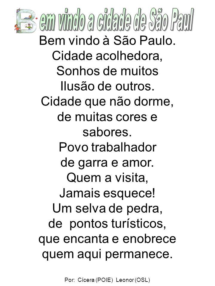Bem vindo à São Paulo.Cidade acolhedora, Sonhos de muitos Ilusão de outros.