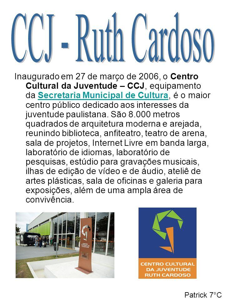 Inaugurado em 27 de março de 2006, o Centro Cultural da Juventude – CCJ, equipamento da Secretaria Municipal de Cultura, é o maior centro público dedicado aos interesses da juventude paulistana.