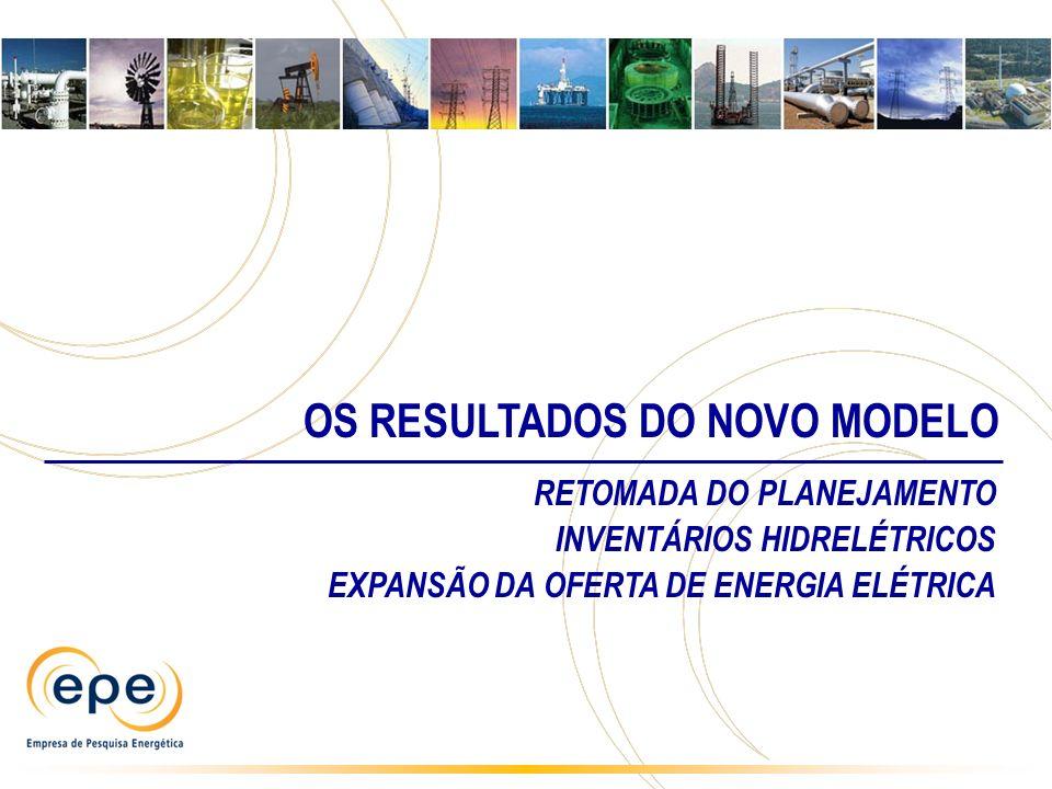 OS RESULTADOS DO NOVO MODELO RETOMADA DO PLANEJAMENTO INVENTÁRIOS HIDRELÉTRICOS EXPANSÃO DA OFERTA DE ENERGIA ELÉTRICA