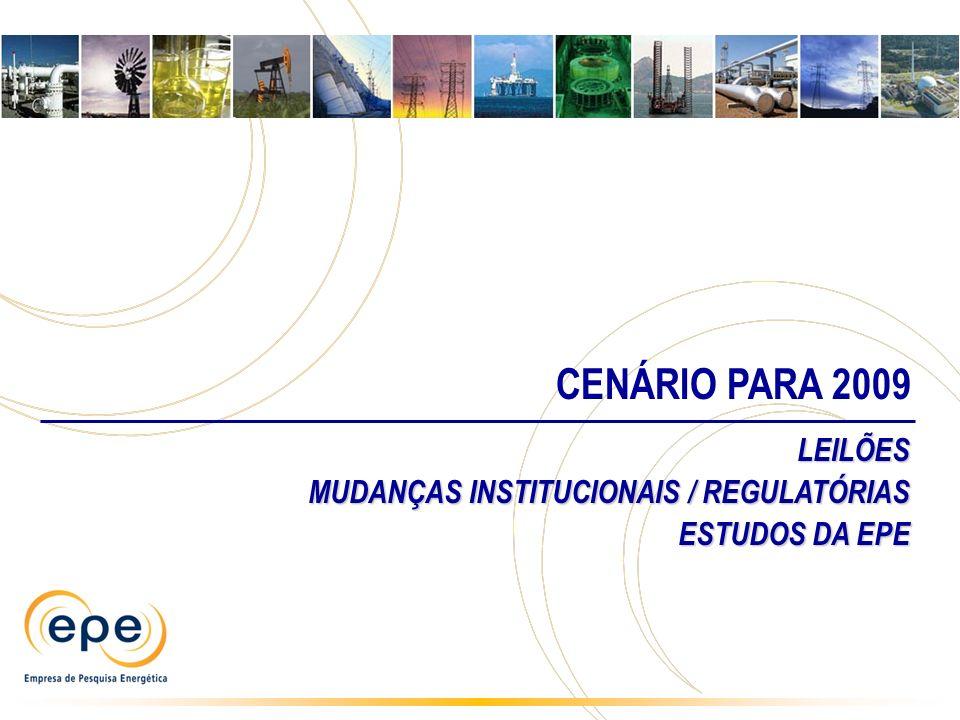 CENÁRIO PARA 2009 LEILÕES MUDANÇAS INSTITUCIONAIS / REGULATÓRIAS ESTUDOS DA EPE