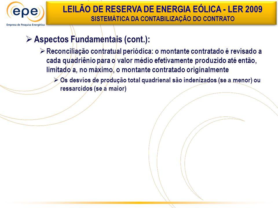 Aspectos Fundamentais (cont.): Reconciliação contratual periódica: o montante contratado é revisado a cada quadriênio para o valor médio efetivamente