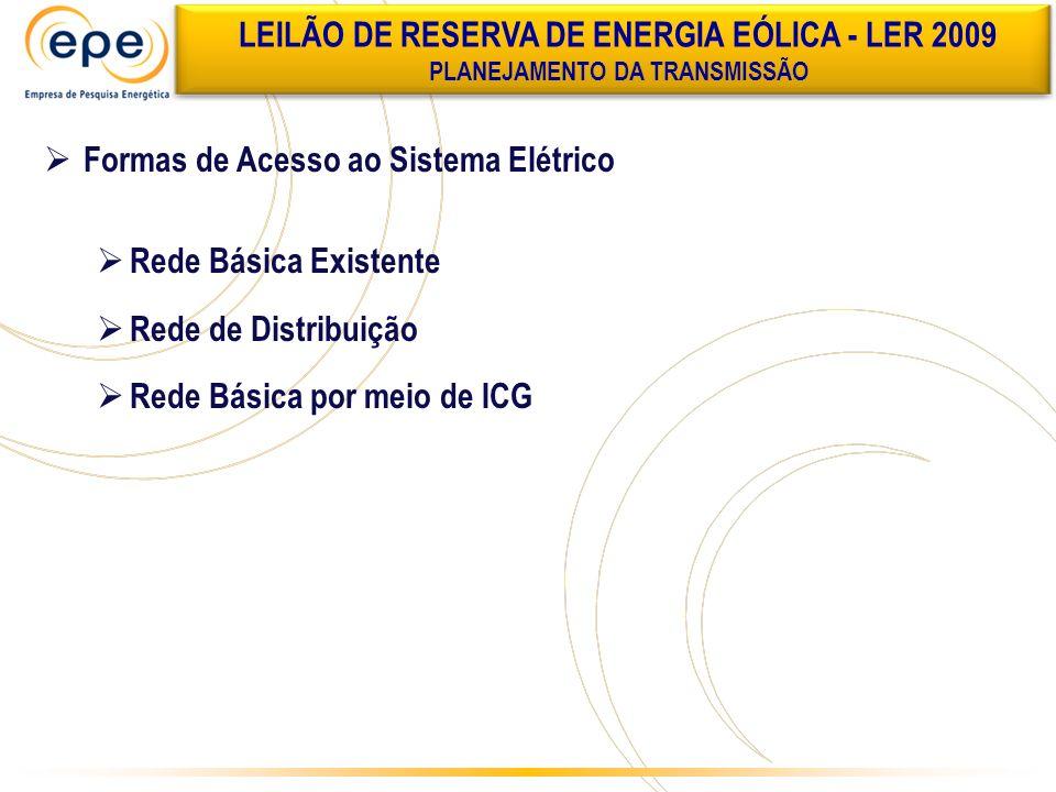 Formas de Acesso ao Sistema Elétrico Rede Básica Existente Rede de Distribuição Rede Básica por meio de ICG LEILÃO DE RESERVA DE ENERGIA EÓLICA - LER
