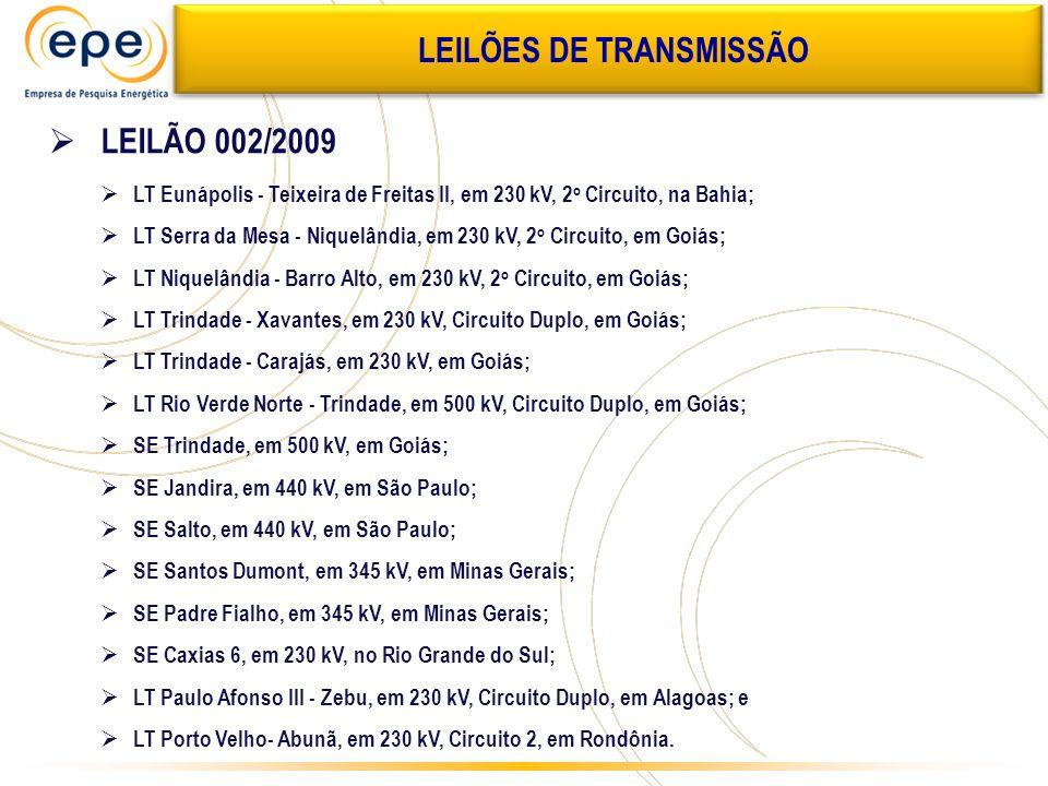 LEILÕES DE TRANSMISSÃO LEILÃO 002/2009 LT Eunápolis - Teixeira de Freitas II, em 230 kV, 2 o Circuito, na Bahia; LT Serra da Mesa - Niquelândia, em 23