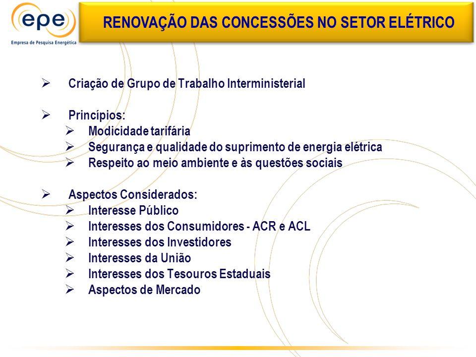 Criação de Grupo de Trabalho Interministerial Princípios: Modicidade tarifária Segurança e qualidade do suprimento de energia elétrica Respeito ao mei