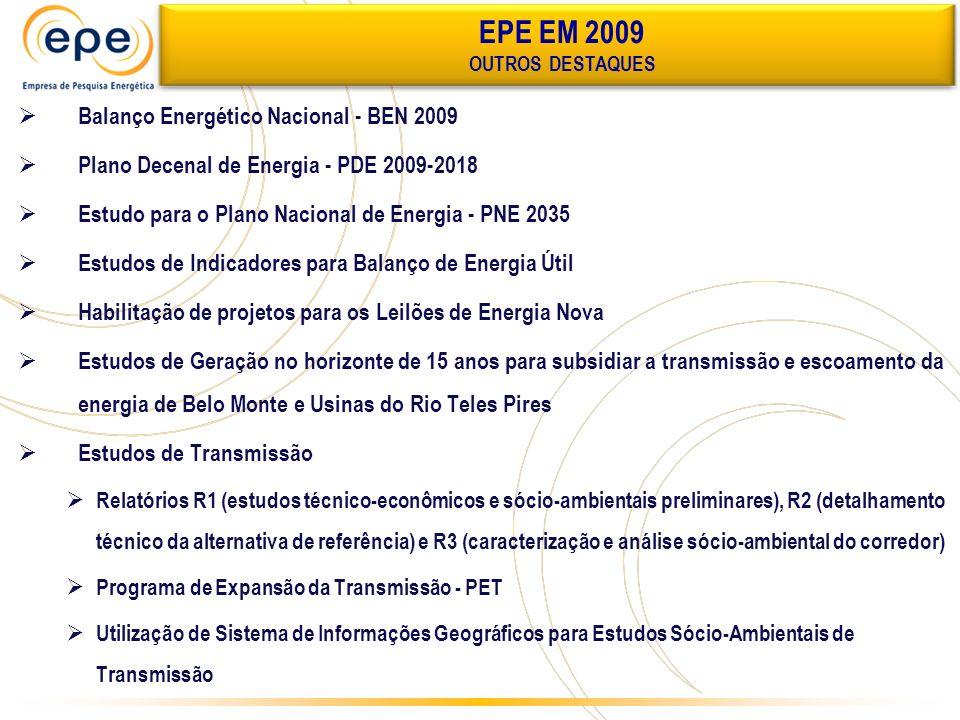 Balanço Energético Nacional - BEN 2009 Plano Decenal de Energia - PDE 2009-2018 Estudo para o Plano Nacional de Energia - PNE 2035 Estudos de Indicado