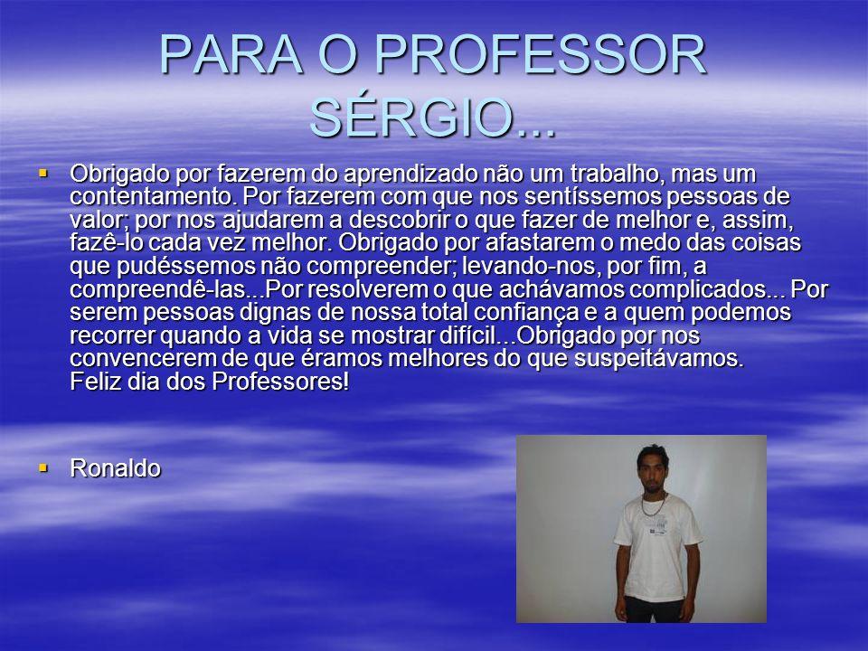 PARA O PROFESSOR SÉRGIO... Obrigado por fazerem do aprendizado não um trabalho, mas um contentamento. Por fazerem com que nos sentíssemos pessoas de v