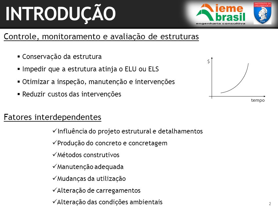 2 Controle, monitoramento e avaliação de estruturas Conservação da estrutura Impedir que a estrutura atinja o ELU ou ELS Otimizar a inspeção, manutenç
