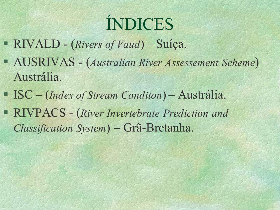 ÍNDICES §RIVALD - ( Rivers of Vaud ) – Suíça. §AUSRIVAS - ( Australian River Assessement Scheme ) – Austrália. §ISC – ( Index of Stream Conditon ) – A