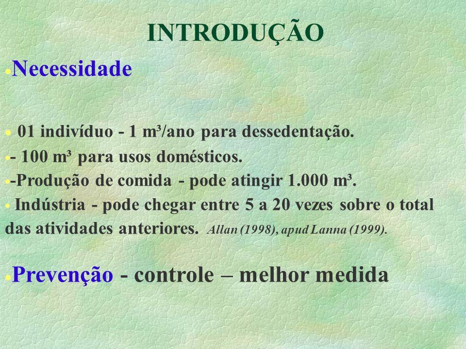 INTRODUÇÃO Necessidade 01 indivíduo - 1 m³/ano para dessedentação. - 100 m³ para usos domésticos. -Produção de comida - pode atingir 1.000 m³. Indústr