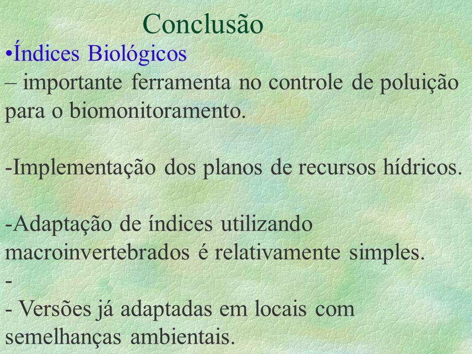 Conclusão Índices Biológicos – importante ferramenta no controle de poluição para o biomonitoramento. -Implementação dos planos de recursos hídricos.