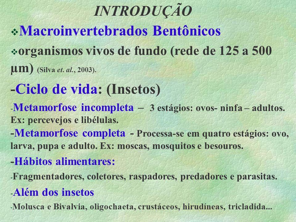 INTRODUÇÃO Macroinvertebrados Bentônicos organismos vivos de fundo (rede de 125 a 500 µm) (Silva et. al., 2003). -Ciclo de vida: (Insetos) - Metamorfo