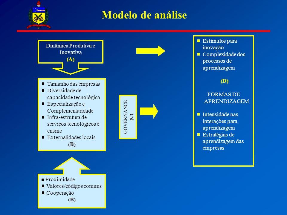 Modelo de análise Dinâmica Produtiva e Inovativa (A) Tamanho das empresas Diversidade de capacidade tecnológica Especialização e Complementaridade Infra-estrutura de serviços tecnológicos e ensino Externalidades locais (B) Proximidade Valores/códigos comuns Cooperação (B) GOVERNANCE (C) Estímulos para inovação Complexidade dos processos de aprendizagem (D) FORMAS DE APRENDIZAGEM Intensidade nas interações para aprendizagem Estratégias de aprendizagem das empresas