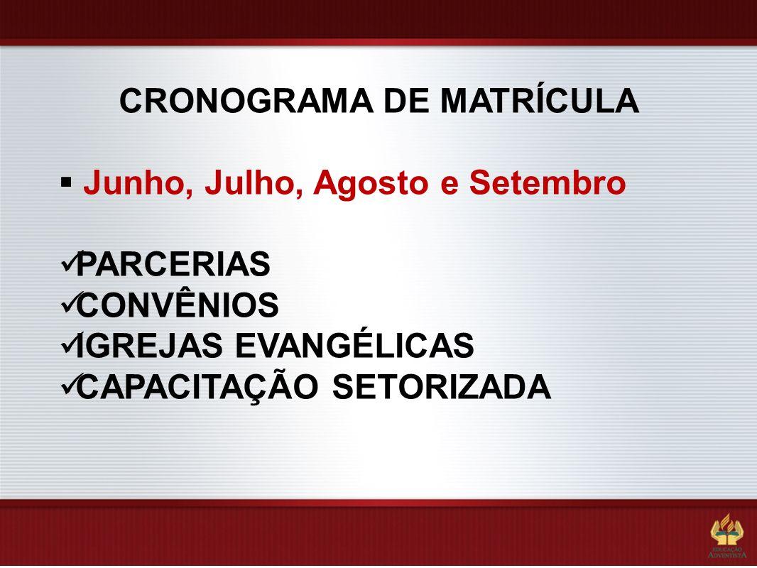 Junho, Julho, Agosto e Setembro PARCERIAS CONVÊNIOS IGREJAS EVANGÉLICAS CAPACITAÇÃO SETORIZADA