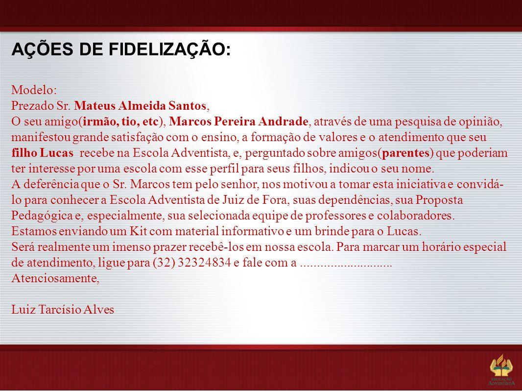 AÇÕES DE FIDELIZAÇÃO: Modelo: Prezado Sr. Mateus Almeida Santos, O seu amigo(irmão, tio, etc), Marcos Pereira Andrade, através de uma pesquisa de opin