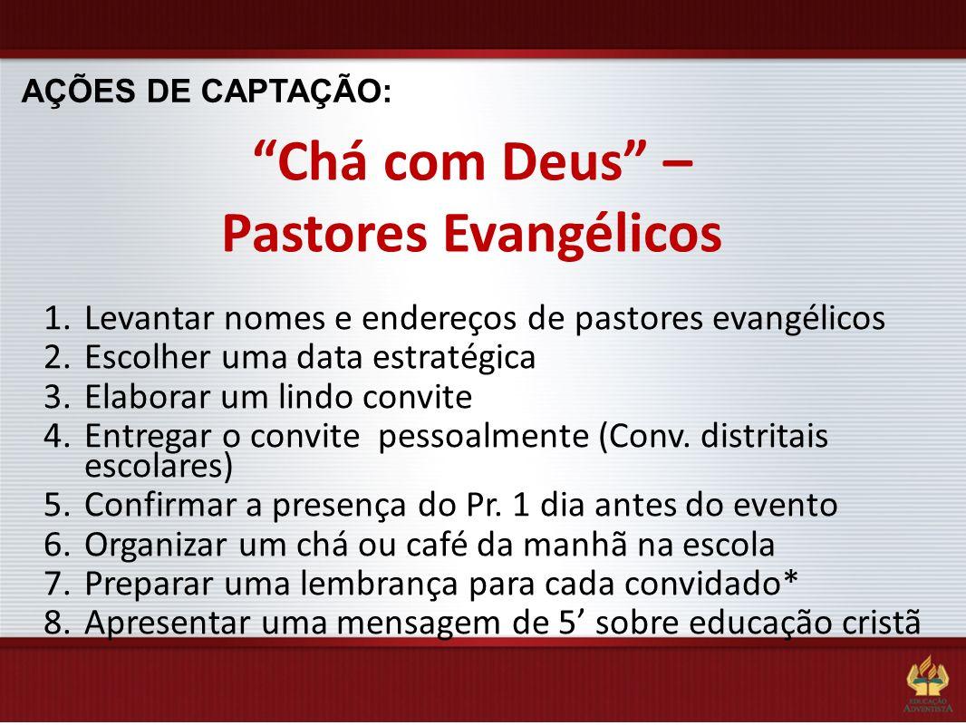 AÇÕES DE CAPTAÇÃO: Chá com Deus – Pastores Evangélicos 1.Levantar nomes e endereços de pastores evangélicos 2.Escolher uma data estratégica 3.Elaborar