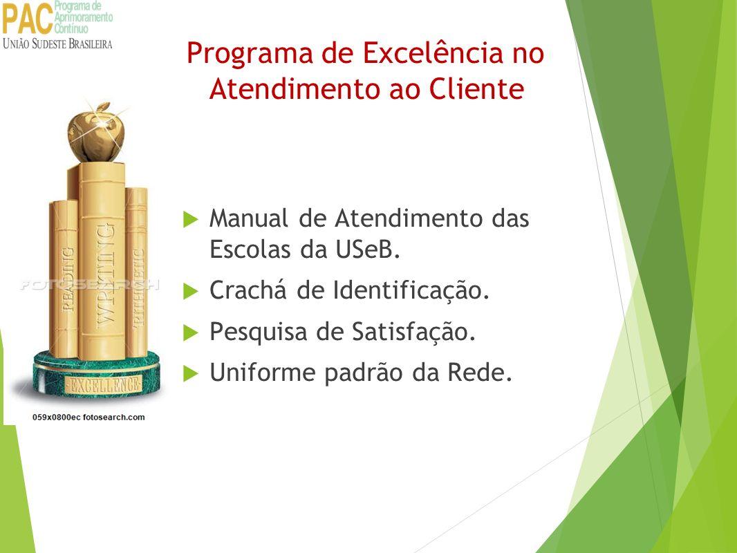 Programa de Excelência no Atendimento ao Cliente Manual de Atendimento das Escolas da USeB. Crachá de Identificação. Pesquisa de Satisfação. Uniforme