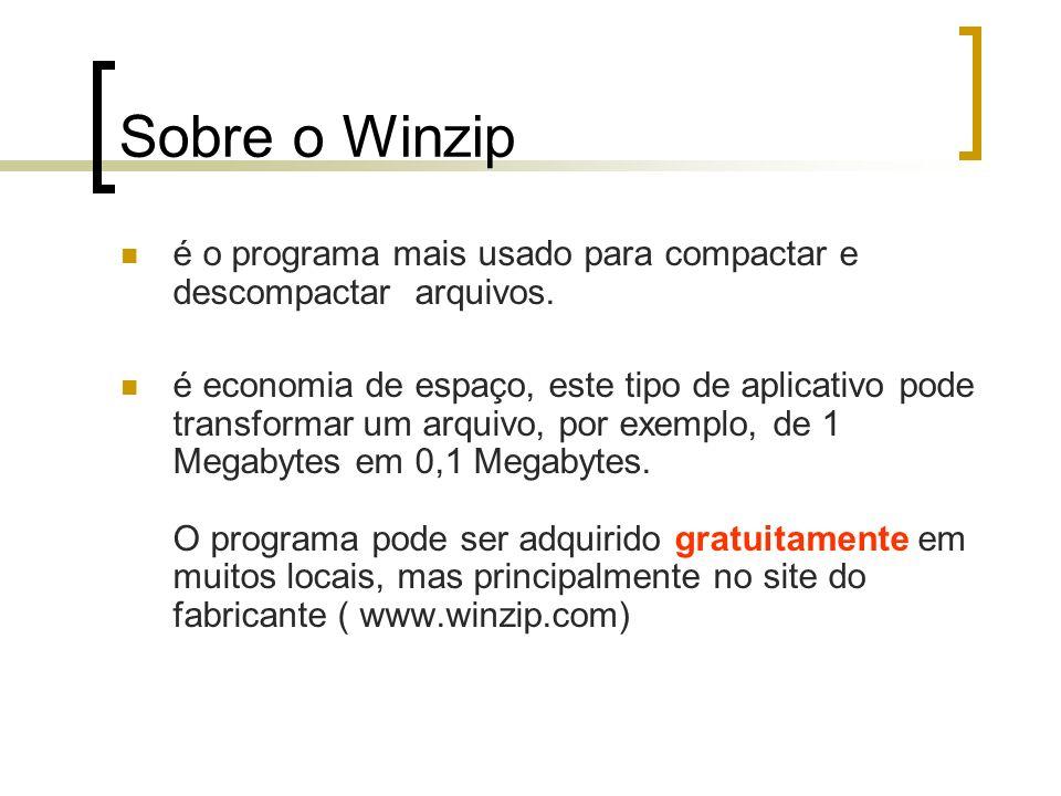 Sobre o Winzip é o programa mais usado para compactar e descompactar arquivos.