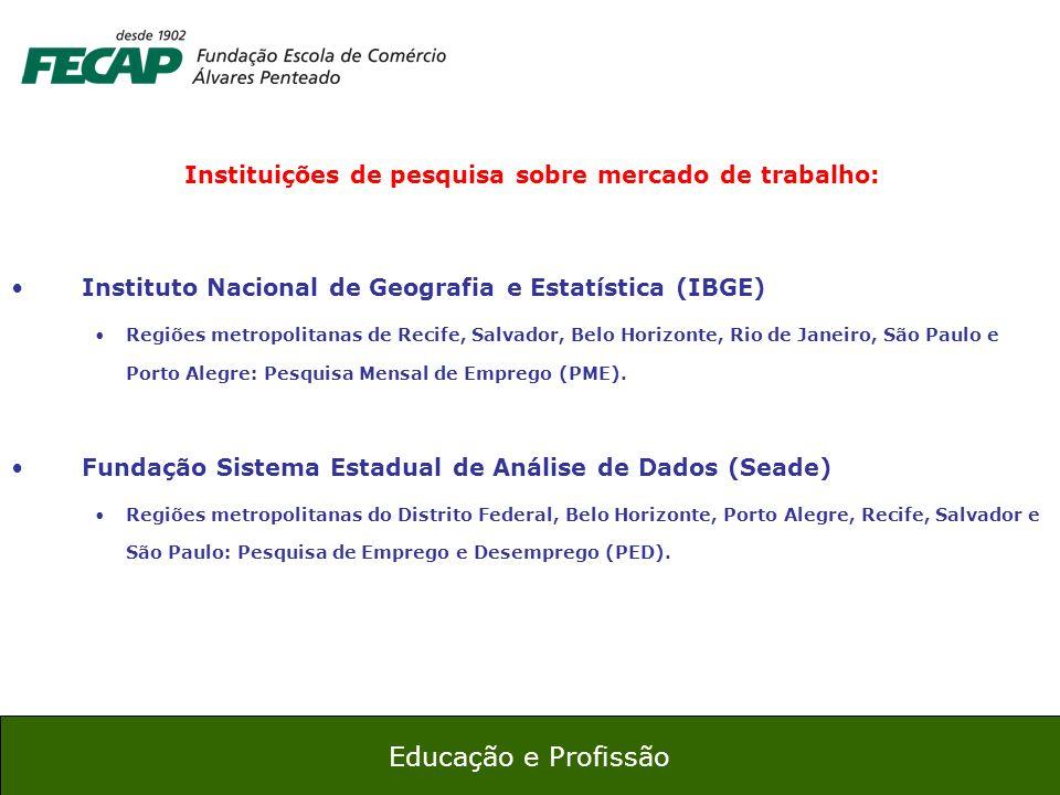 16 Educação e Profissão Instituições de pesquisa sobre mercado de trabalho: Instituto Nacional de Geografia e Estatística (IBGE) Regiões metropolitana