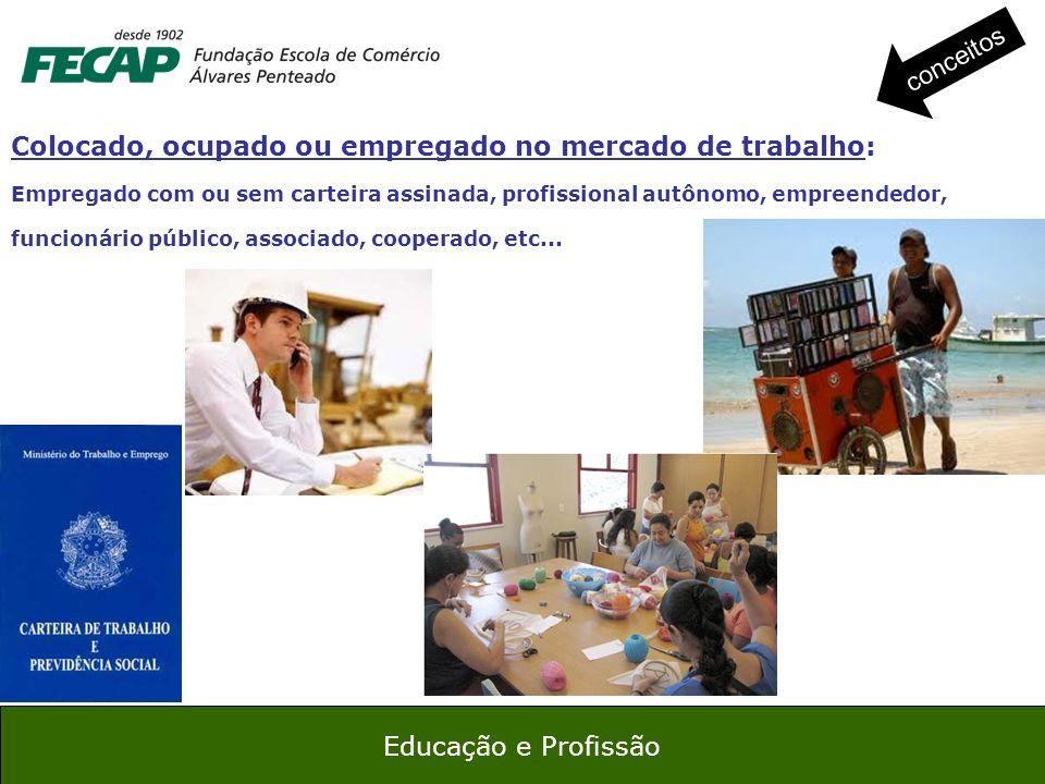 17 Educação e Profissão Colocado, ocupado ou empregado no mercado de trabalho: Empregado com ou sem carteira assinada, profissional autônomo, empreend