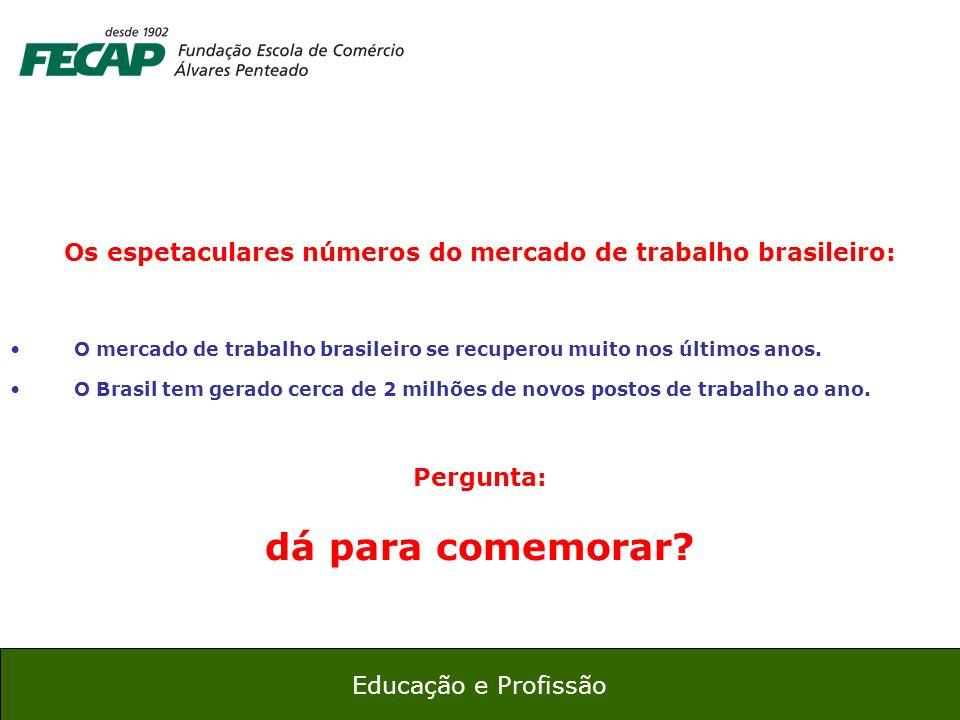 22 Educação e Profissão Os espetaculares números do mercado de trabalho brasileiro: O mercado de trabalho brasileiro se recuperou muito nos últimos an