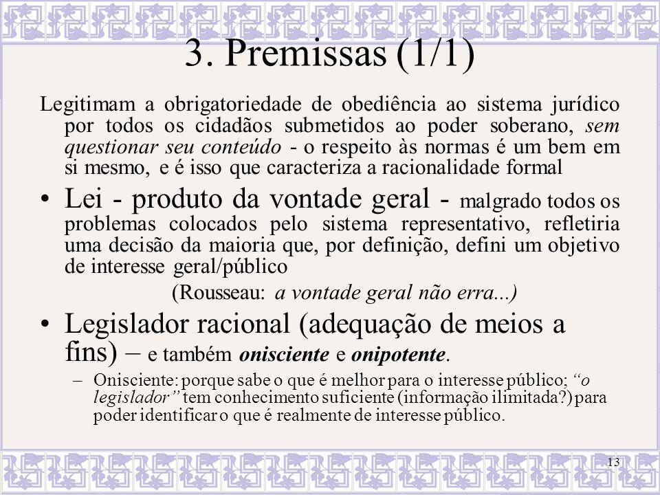 13 3. Premissas (1/1) Legitimam a obrigatoriedade de obediência ao sistema jurídico por todos os cidadãos submetidos ao poder soberano, sem questionar