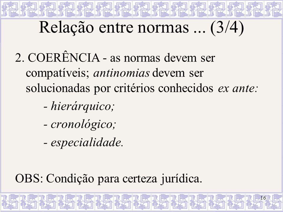 16 Relação entre normas... (3/4) 2. COERÊNCIA - as normas devem ser compatíveis; antinomias devem ser solucionadas por critérios conhecidos ex ante: -