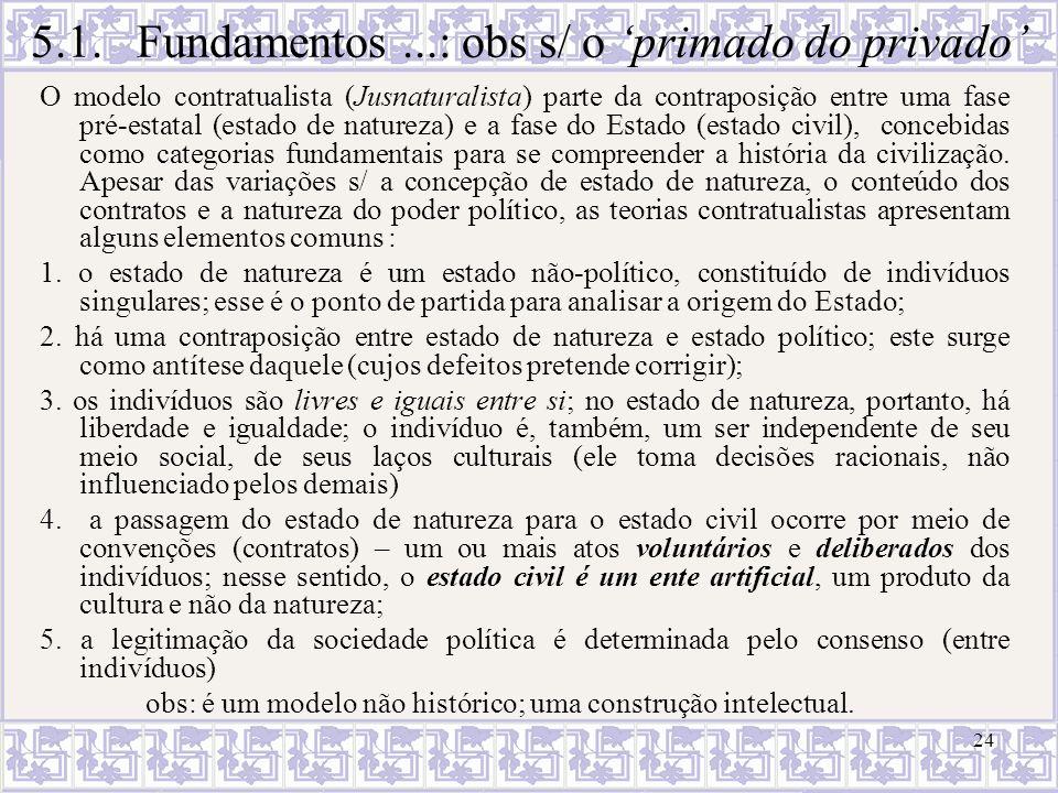 24 O modelo contratualista (Jusnaturalista) parte da contraposição entre uma fase pré-estatal (estado de natureza) e a fase do Estado (estado civil),