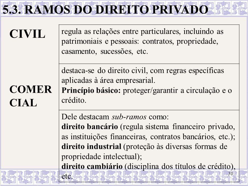 30 5.3. RAMOS DO DIREITO PRIVADO CIVIL regula as relações entre particulares, incluindo as patrimoniais e pessoais: contratos, propriedade, casamento,