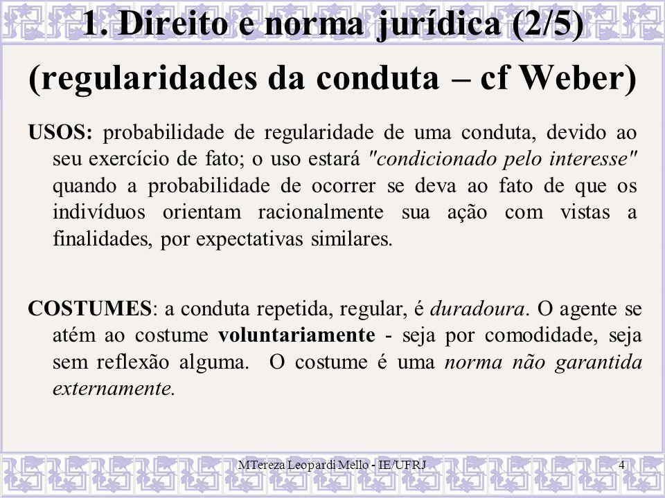 MTereza Leopardi Mello - IE/UFRJ4 1. Direito e norma jurídica (2/5) USOS: probabilidade de regularidade de uma conduta, devido ao seu exercício de fat