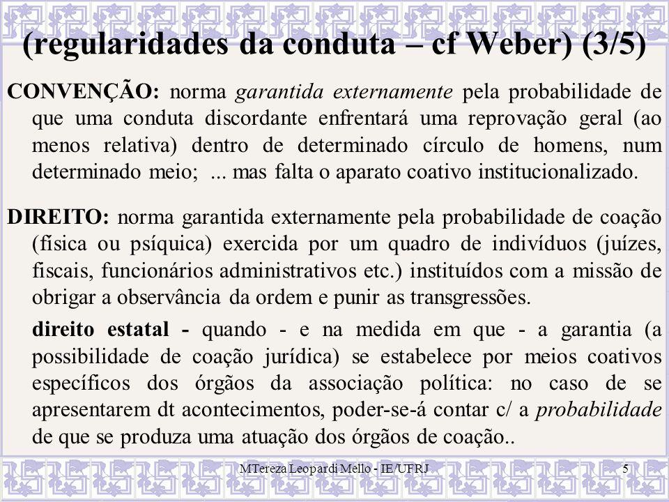 MTereza Leopardi Mello - IE/UFRJ5 (regularidades da conduta – cf Weber) (3/5) CONVENÇÃO: norma garantida externamente pela probabilidade de que uma co