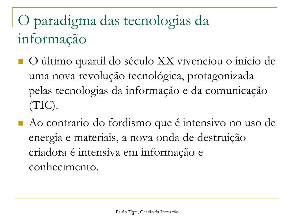 Paulo Tigre, Gestão da Inovação O paradigma das tecnologias da informação O último quartil do século XX vivenciou o início de uma nova revolução tecno