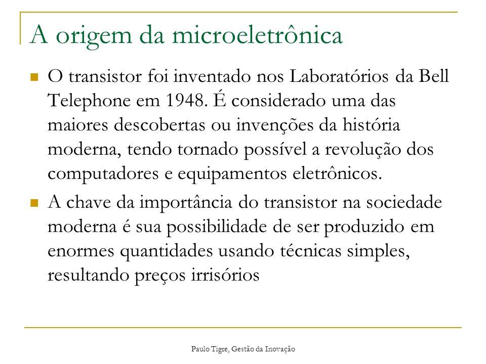 A origem da microeletrônica O transistor foi inventado nos Laboratórios da Bell Telephone em 1948. É considerado uma das maiores descobertas ou invenç