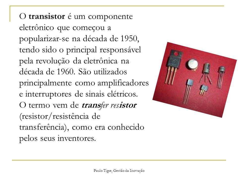 O transistor é um componente eletrônico que começou a popularizar-se na década de 1950, tendo sido o principal responsável pela revolução da eletrônic