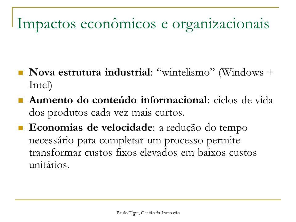 Paulo Tigre, Gestão da Inovação Impactos econômicos e organizacionais Nova estrutura industrial: wintelismo (Windows + Intel) Aumento do conteúdo info