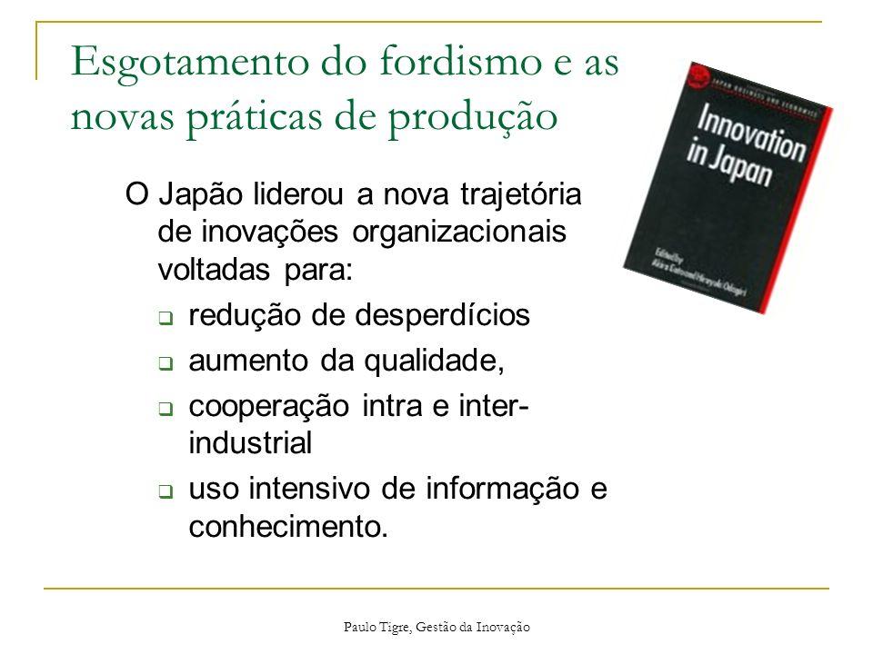 Esgotamento do fordismo e as novas práticas de produção Paulo Tigre, Gestão da Inovação O Japão liderou a nova trajetória de inovações organizacionais
